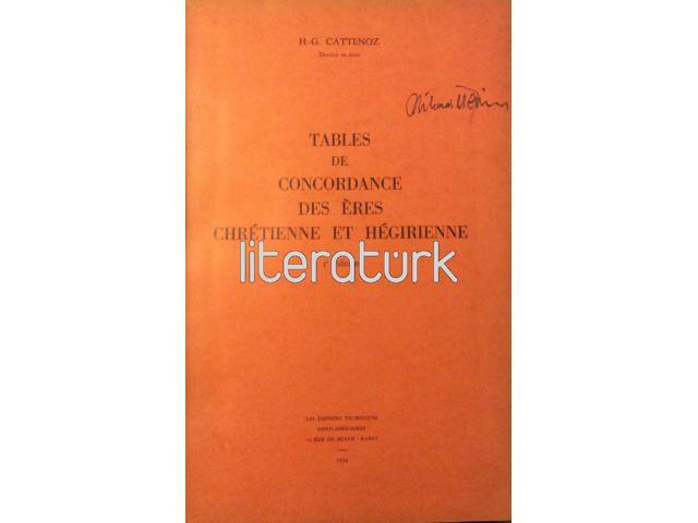 TABLES DE CONCORDANCE DES ERES CHRETIENNE ET HEGIRIENNE