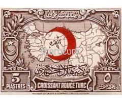 TÜRKİYE HİLAL-İ AHMER CEMİYETİ [CROISSANT ROUGE TURC, KIZILAY] ŞEFKAT PULU 1928 [OSMANLICA]