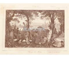 İSTANBUL'DA KABRİSTAN, MEZARLIK ✩ 1840 [GRAVÜR]