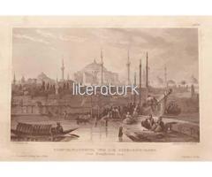 BOĞAZİÇİNDEN İSTANBUL VE AYASOFYA CAMİİ ✩ ca 1850 [GRAVÜR]