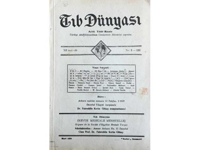 TIB DÜNYASI ✩ AYLIK TIBBİ RİSALE ✩ MART 1939; CİLT 12 SAYI 3 [131]