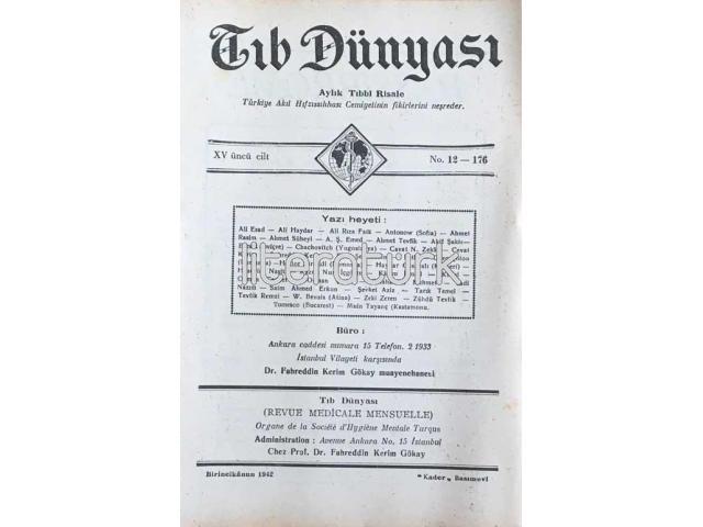 TIB DÜNYASI ✩ AYLIK TIBBİ RİSALE ✩ BİRİNCİKANUN 1942; CİLT 15 SAYI 12 [176]