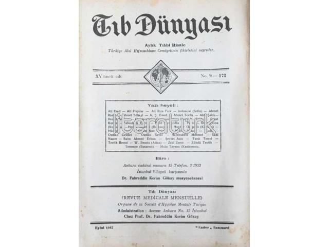 TIB DÜNYASI ✩ AYLIK TIBBİ RİSALE ✩ EYLÜL 1942; CİLT 15 SAYI 9 [173]