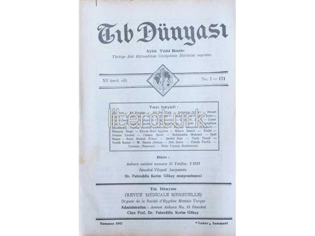 TIB DÜNYASI ✩ AYLIK TIBBİ RİSALE ✩ TEMMUZ 1942; CİLT 15 SAYI 7 [171]