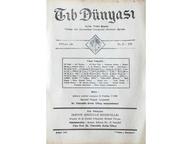 TIB DÜNYASI ✩ AYLIK TIBBİ RİSALE ✩ ŞUBAT 1943; CİLT 16 SAYI 2 [178]