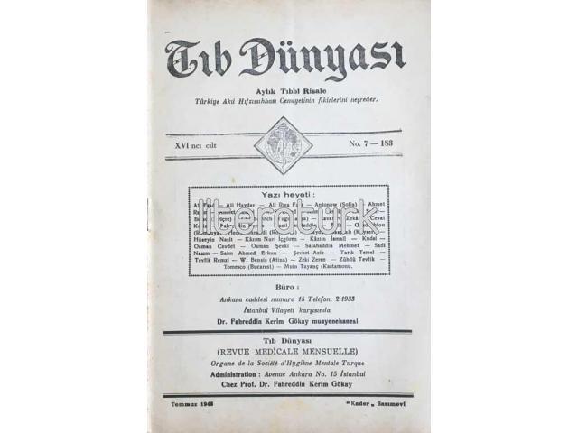 TIB DÜNYASI ✩ AYLIK TIBBİ RİSALE ✩ TEMMUZ 1943; CİLT 16 SAYI 7 [183]