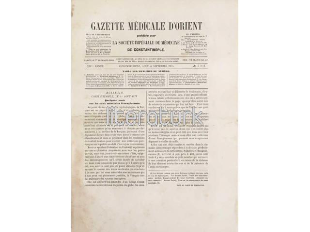 GAZETTE MEDICALE D'ORIENT ✩ XIX ANNEE, № 5-6 ✩ SEPTEMBRE 1875 [CERİDE-İ TIBBİYE-İ ŞARKİYE]